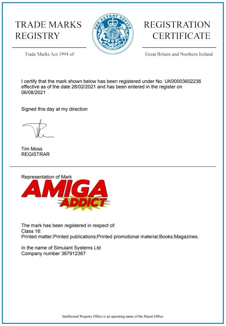 Amiga Addict registered trademark certificate